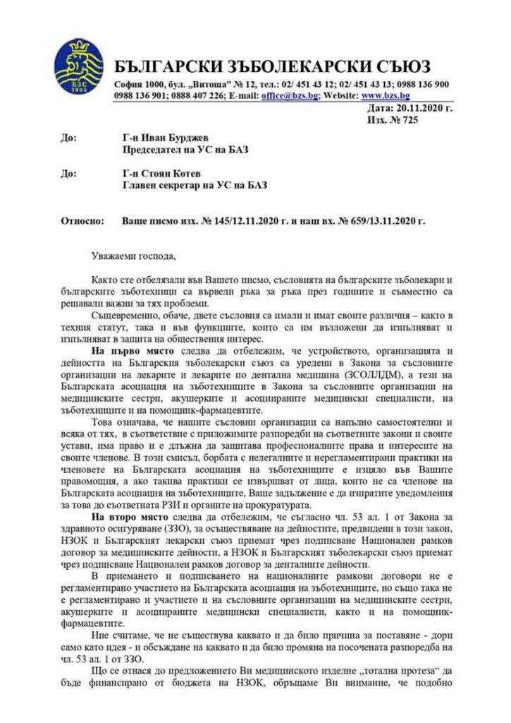 Писмо на БЗС до БАЗ